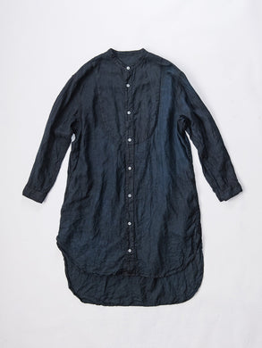 Hand Dyed Stand Collar Linen Long Shirt / Black