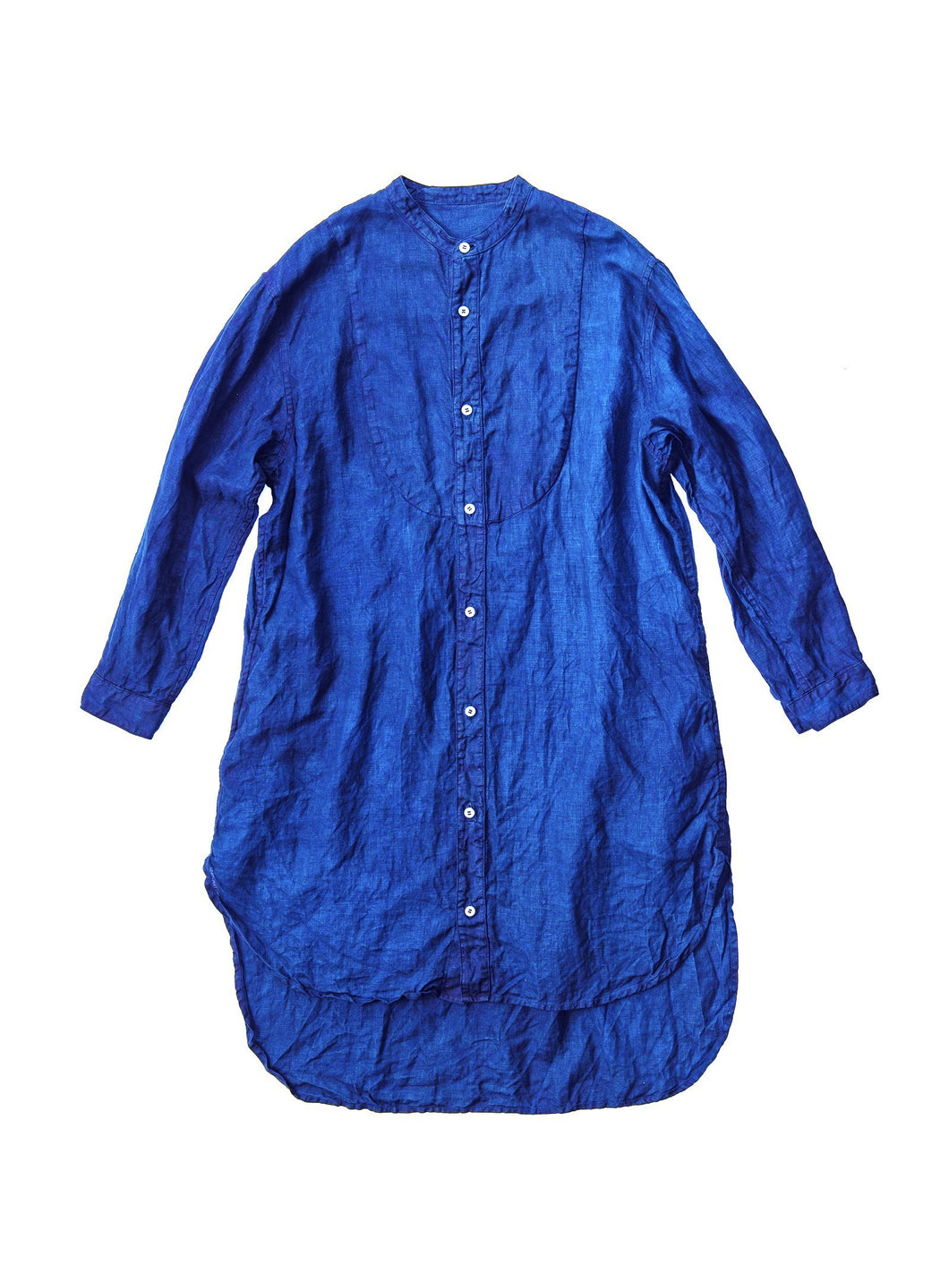 Hand Dyed Stand Collar Linen Long Shirt / Indigo