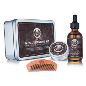 Gentle Vikings Beard Grooming Kit Beard Oil, Beard Balm, Beard Comb, Set for Beard Styling and Shaping, Idea for Men, Husband, Father and Him