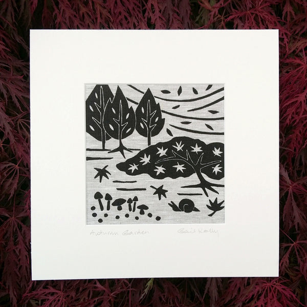 Autumn Garden ~ linocut printed on Irish linen