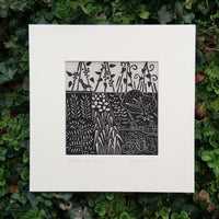 Kitchen Garden ~ linocut printed on Irish linen