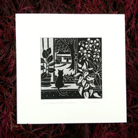 Neighbourhood Watch ~ linocut printed on Irish linen
