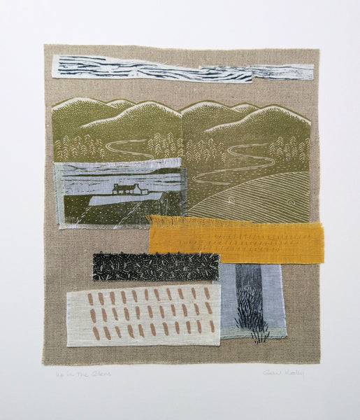 Up in the Glens ~ hand stitched linen collage