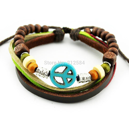 A379 Blue Peace Sign/Symbol Handmade Hemp Leather Charm Bracelet Wrist Womens Mens Adjustable Beads Wrap Bracelet Free Shipping