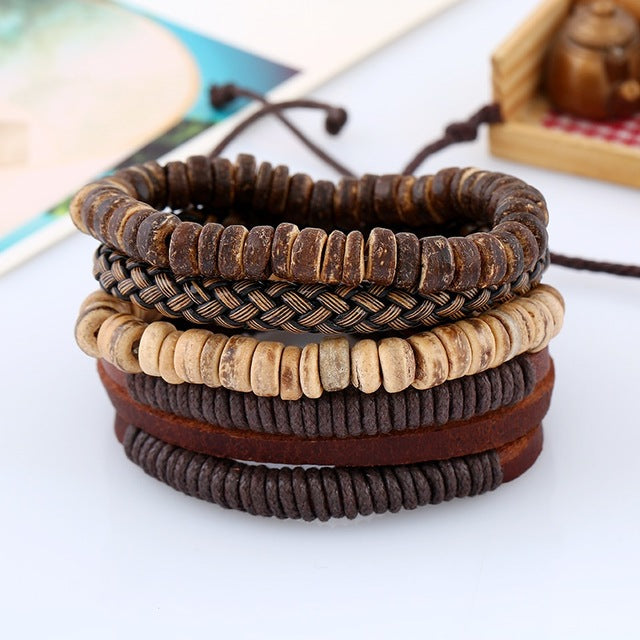 4 In 1 Vintage Diy Charm Bracelet Set Cowhide Leather Men Bracelets Wrist Jewelry Rope Woven Beads Bracelet & Bangles Adjustable