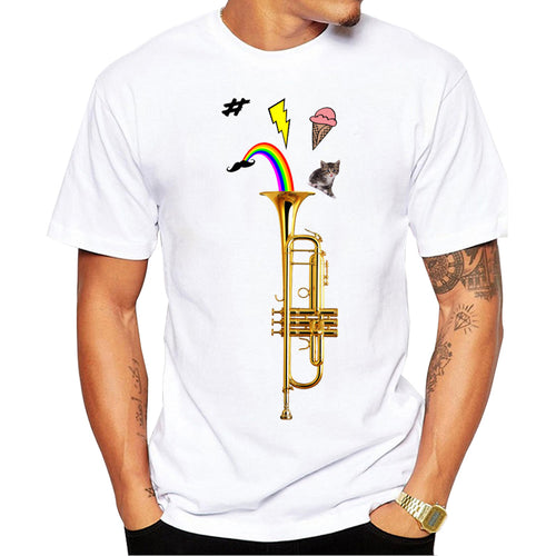 Funny printed brand t shirt men 2017 new summer o-neck short sleeve Pop Art Trumpet t-shirt funny design shirts homme cool tops