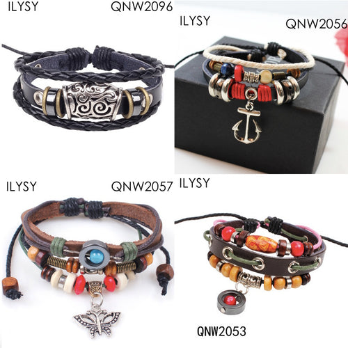 12pcs Vintage Korean style cross Retro woven leather beaded bracelet set Cuff Men Leather Bracelet Femal Male Wrist Band