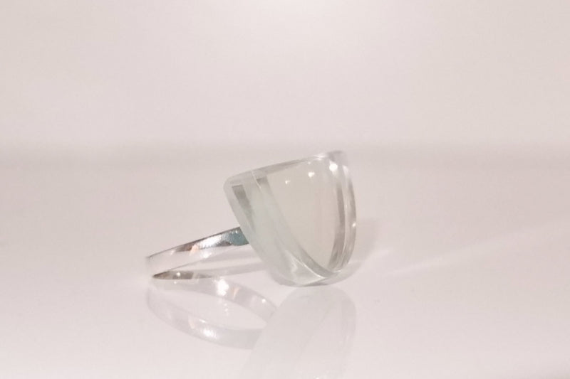 White Recycled Mirror Ring