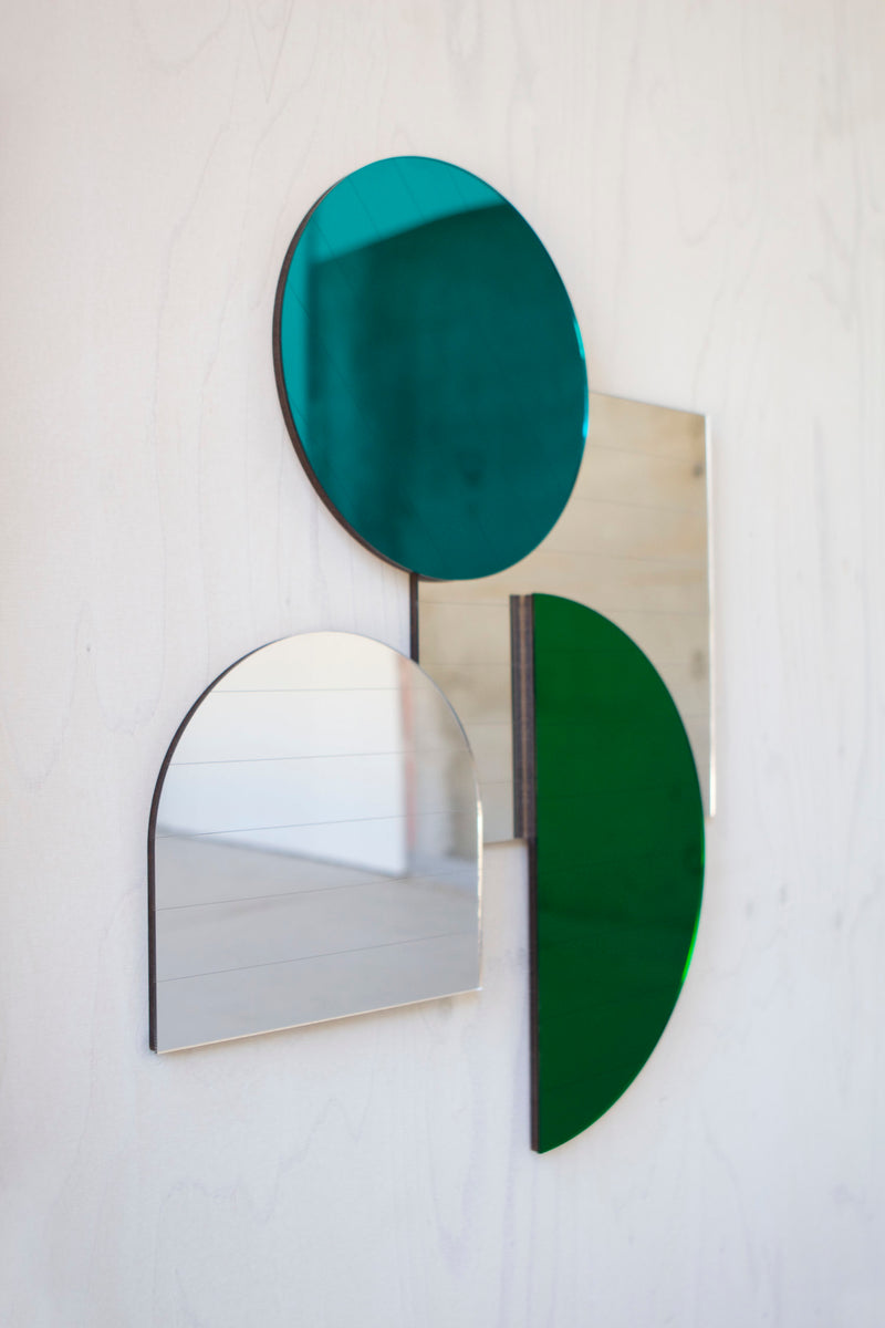 Mid Century Mirrors in Teal and Silver