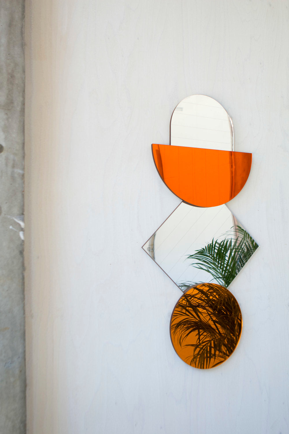 Mid Century Mirrors in Amber and Silver