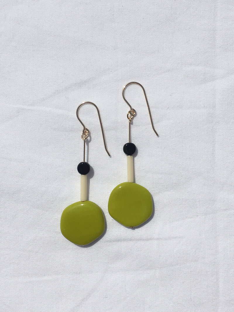 Green Lily Pad Drop Earrings