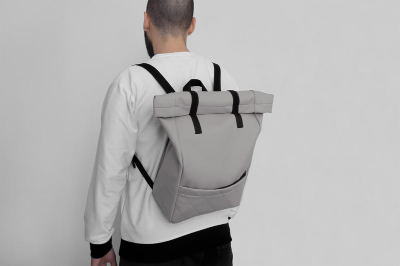 Vegan Leather Backpack (Grey)