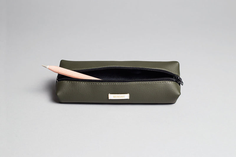 Vegan Leather Pencil Case (Green)