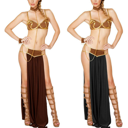 Cosplay for Star Wars in Halloween Carnival Party Vestidos Anime Costumes Adult Women Sexy Princess Leia Slave Bra+skirt Black