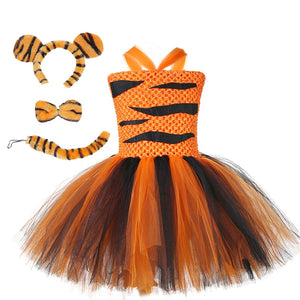 Girls Tiger Cosplay Costume Set Baby Kids Birthday Animal Party Tutu Dress Child Halloween School Perform Clothes Set