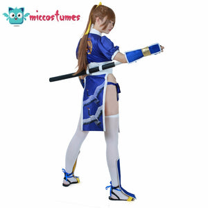 Kasumi Cosplay Costume Women Girl Blue Cheongsam Suit Outfit