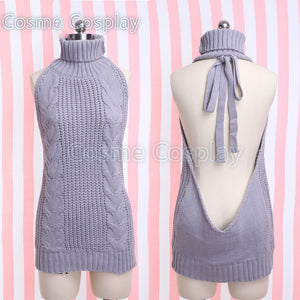 Cos Re:Life in a different world from zero Emilia Cosplay Costume Backless Sweater Turtleneck Sweater Jumpers Girl Hot Clothing