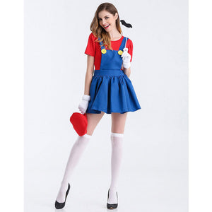 Umorden Halloween Purim Party Costumes Game Super Mario Luigi Costume Dresses for Women Fancy Cosplay Dress Clothing