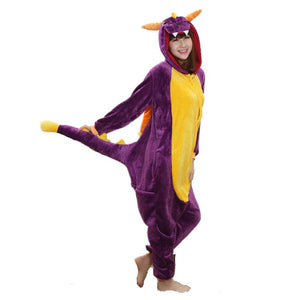 Cartoon Animal Cosplay Kigurumi Purple Dragon Spyro Onesies Pajamas  Jumpsuit  Hoodies Adults Cos Costume for Halloween Carnival