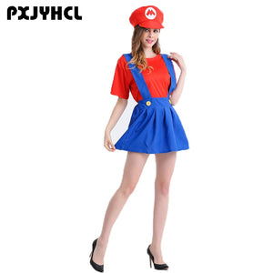 Halloween Red Super Mario Cosplay Costume Women Sexy Plumber Party Dress Adult Anime Cartoon Bros Role Play Game Set Girl