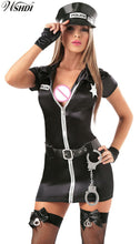 5Pcs Hot Black Policewomen Costumes Sexy Zipper Police Mini Dress Adult  Halloween Cosplay Cop Officer Outfits Uniform