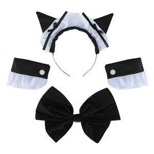 M-3XL Sexy Women's French Maid Lolita Dress With Cat Ear Cosplay Costume Women Exotic Servant Cosplay Dress Plus Size Costume