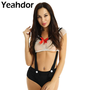 2Pcs Women Game Cosplay Japanese Schoolgirl Uniform Set Sailor Collar See Through Sheer Crops Tops Crotchless Suspender Bottoms