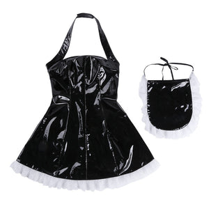 3Pcs Women Wet Look Patent Leather Maid Dress Role Play Cosplay Costume Maidservant Outfits Halter Dress with Apron + Neck Ring