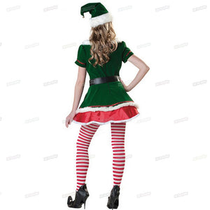 Green Women Adults Christmas Clow Elf Costume Cosplay Costumes Masquerade Party Dress Decoration New Year