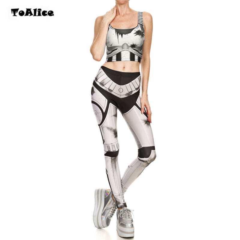 STAR WARS Cosplay Halloween Costume Elastic High Waist Leggings & Short Vest Print Costume Sexy Two Piece Set Women Costume