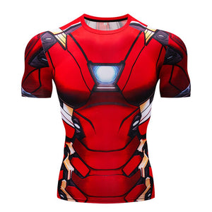 Cosplay costume Avengers 4: Endgame Iron Man 3D Print Summer Fashion Sports Quick-drying Short Sleeve T-Shirt for men