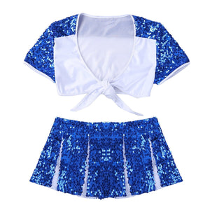 2Pcs Women Adult Charming Cheerleader Uniform Party Cosplay Costume Shiny Sequins Suit Short Sleeve Crop Top with Mini Pantskirt