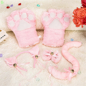 1 Pair Women Girls Cute Cat Kitten Paw Claw Warm Gloves Soft Anime Cosplay Plush for Halloween purim Party Accessories gift