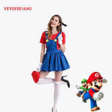 VEVEFHUANG Halloween Super Mario Luigi Bros Costume Women Sexy Dress Adult Mario Bros Cosplay Costume Fancy Dress