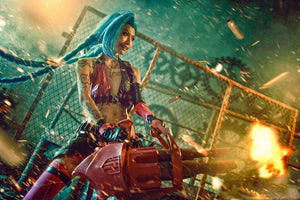 VEVEFHUAG LOL Jinx Cosplay Wigs Women Blue Double Ponytail Braids Girls Long Hair 120cm For Halloween Party