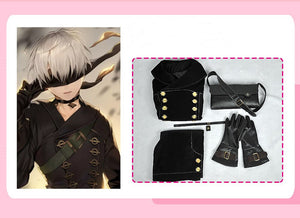 VEVEFHUANG Hot Games NieR Automata 9S Cosplay Costumes Men Fancy Party Outfits Coat YoRHa No. 9 Type S Full Set for Halloween