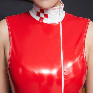 Sexy High Collar PU Leather Nurse Costumes Tight Red White  Patchwork Shiny Jumpsuit Side Long Zipper Open Crotch Nurse Uniform