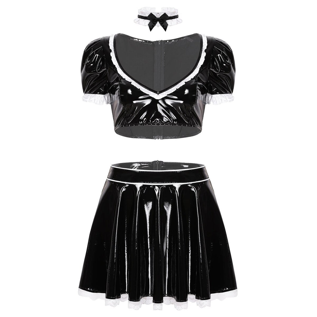 3Pcs Women Wet Look Patent Leather French Maid Cosplay Costume Puff Sleeve Plunging Deep V-neck Crop Top with Short Skirt Choker