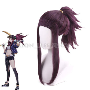 Game LOL K/DA Akali Cosplay wigs  KDA  Cosplay Costume Purple Synthetic Wig Hair for women Halloween Carnival wigs Prop