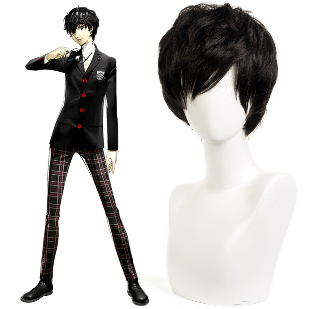 Anime Persona 5 Ren Amamiya Cosplay Wigs for Peluca Adult Men Boy Porter Costumes Akira Kurusu JOKER Hair Wig Prop Halloween