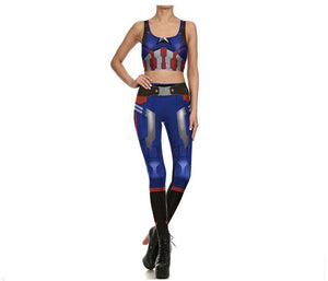 Fashion Captain America Vest and Leggings Pants Camisole Stretchy Pants Cosplay Costume Women Slim Print Clothing
