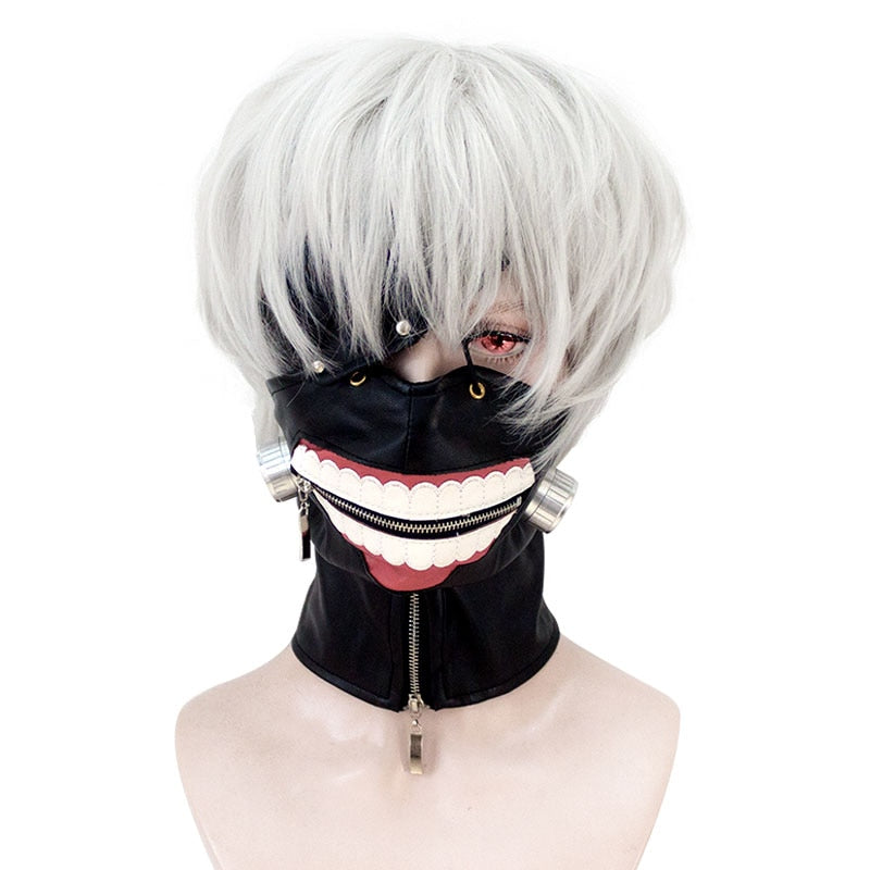 HSIU High Quality Tokyo Ghoul Cosplay Wig Ken Kaneki Costume Play Wigs Halloween party Anime Game Hair 30cm Silver wig