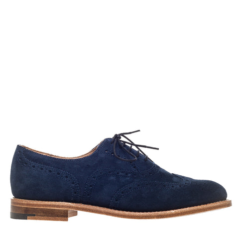 Navy Suede Brogue Oxford Shoes