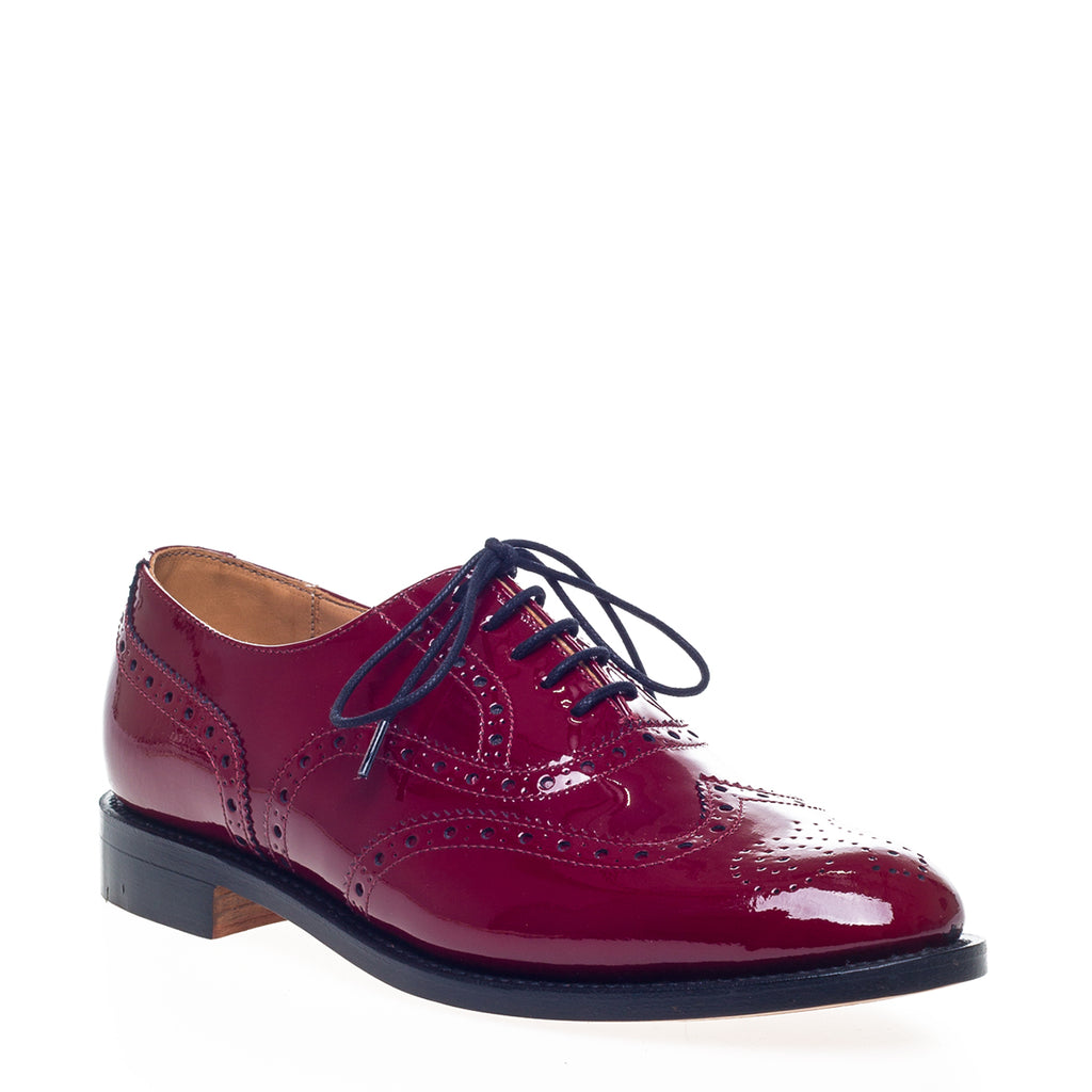 Red Patent Brogue Oxford Shoes