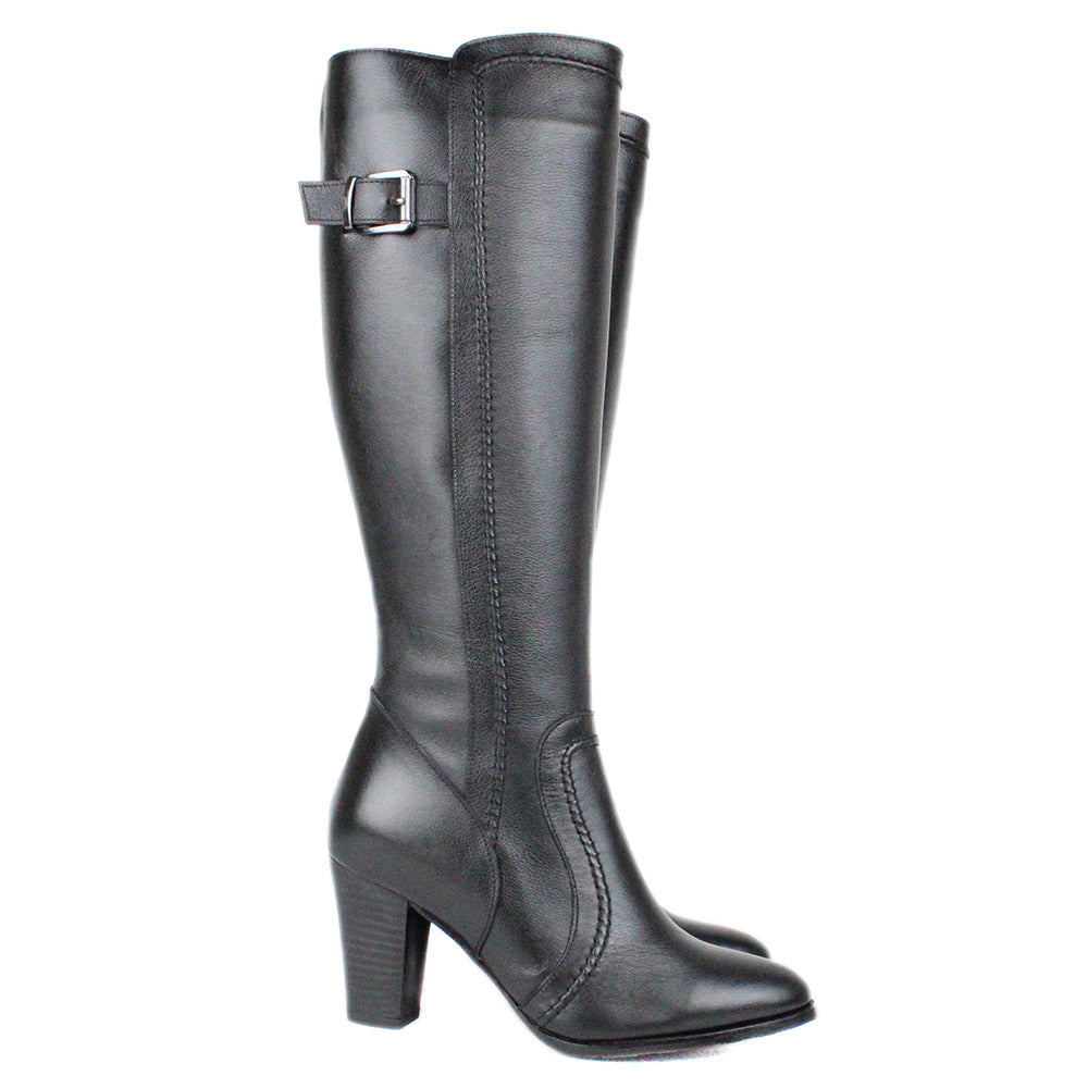 Black Women Leather Long Boots - 9.077.17