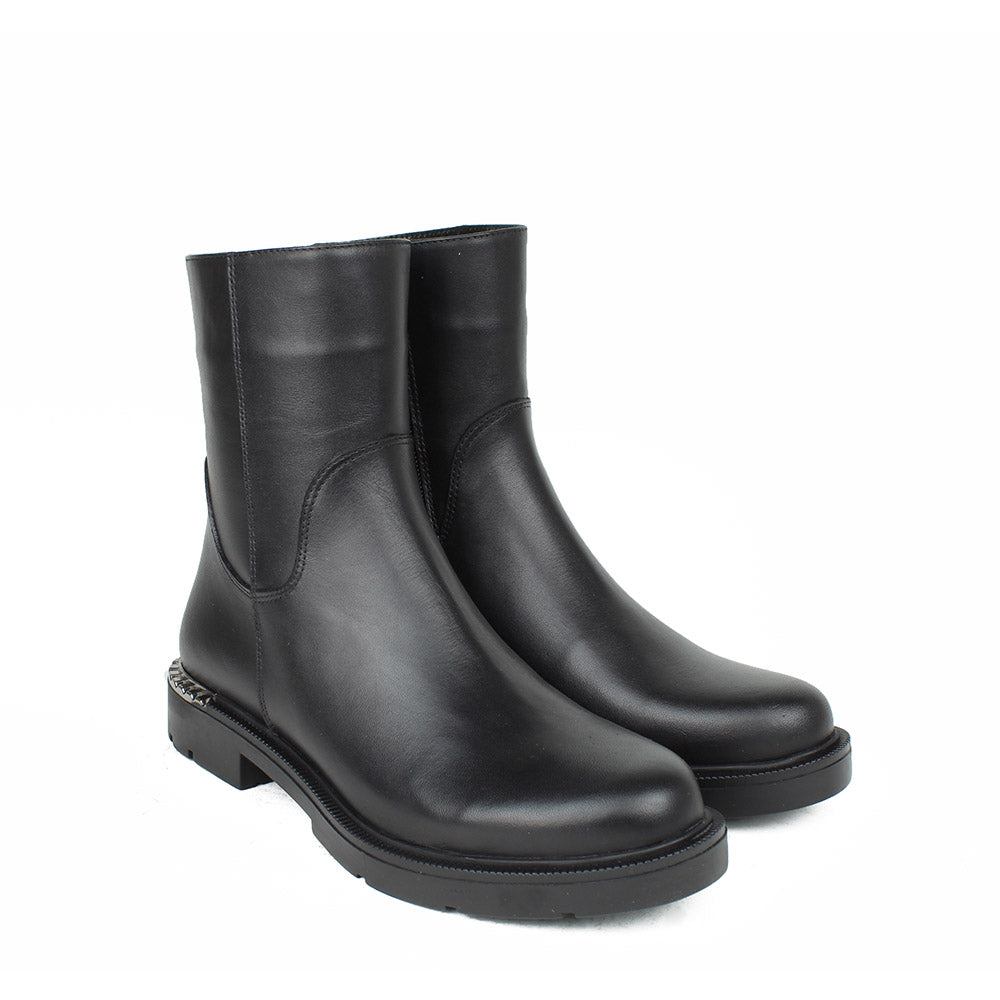 Black Women Leather Long Boots - 5.055.17