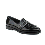 Black Women Leather Loafers Shoes - 5.016.17