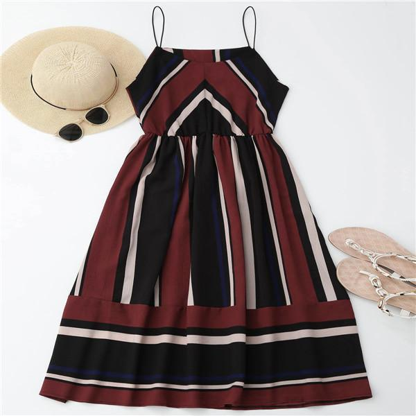 Azul Striped Midi Dress wine red / XL GNTLMEN Australia GNTLMEN-JOSHBRNJAC