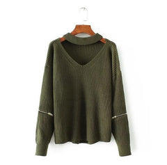 Chunky Knit Cut-Out Sweater Green / One Size GNTLMEN Australia GNTLMEN-JOSHBRNJAC