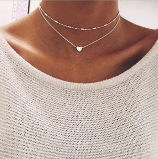 LOVE HEART DOUBLE LAYERED PENDANT NECKLACE GNTLMEN Australia GNTLMEN-JOSHBRNJAC